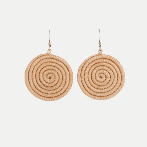 Woven Spiral Earrings: Tea (Small)