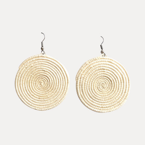 Woven Spiral Earrings: Natural (Large)