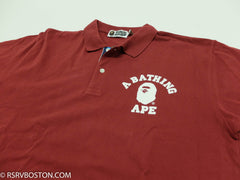 A Bathing Ape College Logo Polo Shirt Maroon/ White - RSRV - 2