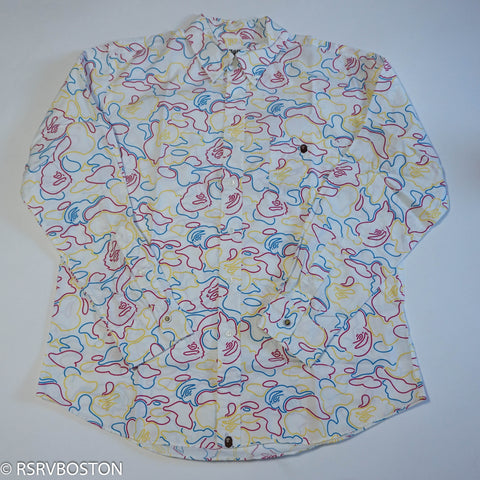 A Bathing Ape Neon Camo Button Up Shirt White/ Red/ Blue/ Yellow *USED*
