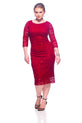 SleekTrends Women's Three Quarter Sleeve Sequin Lace Midi Sheath Dress
