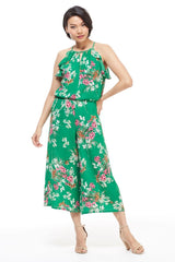 London Times Women's Sleeveless Floral Print Jumpsuit