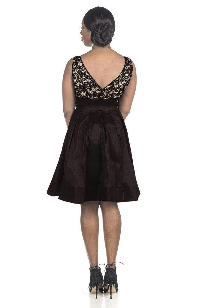 RM Richards Women's Lace Taffeta Bow Black Dress - Sleeveless with Lace Bodice Black - SleekTrends - 2