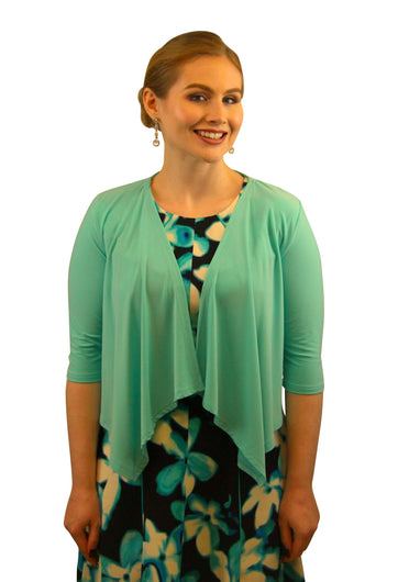 SleekTrends Womens Elbow Sleeve Open Draped Front Bolero Jacket - Shrug