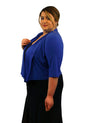 SleekTrends Women Plus Size Elbow Sleeve Shawl Collar Bolero Jacket