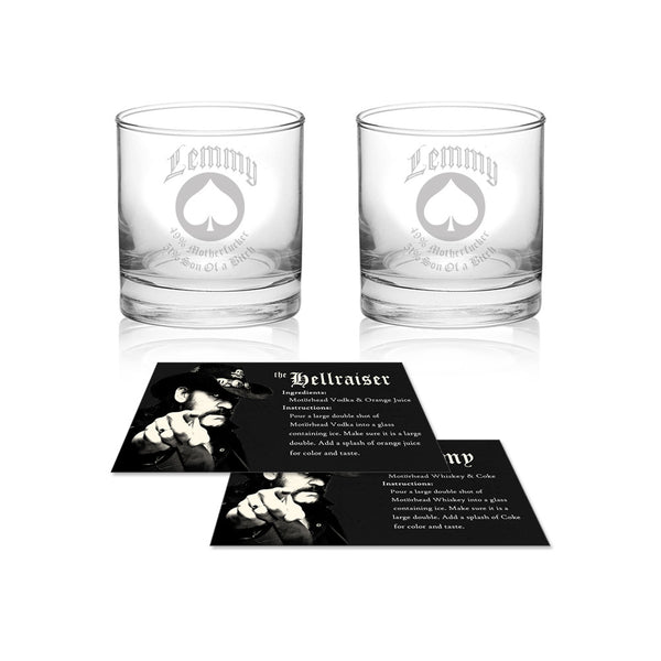 Collectible Lemmy Memorial Rocks Glass Set with Box