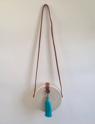 CROSS BODY RATTAN TASSEL BAG OCEAN TURQ