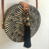 CROSS BODY RATTAN TASSEL BAG BLACK