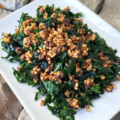 Kale Salad w/ Lemon Garlic Dressing & Pecan Topping