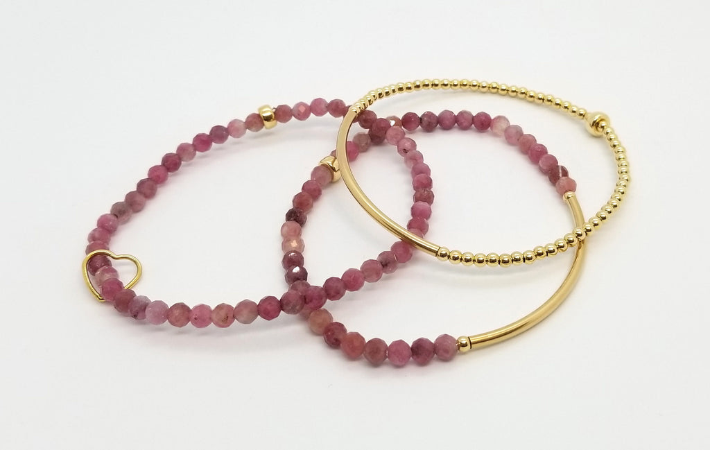 Tourmaline Gold Bracelet Stack