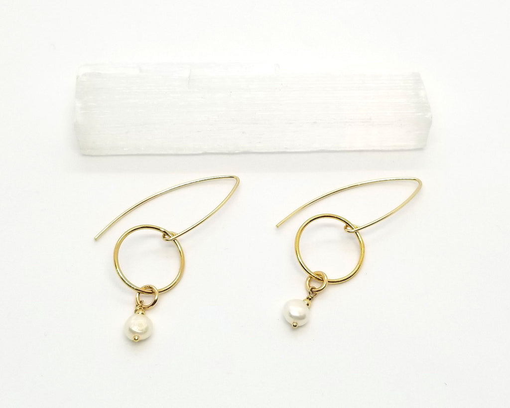 Gold Goddess with Fresh Water Pearl Earrings