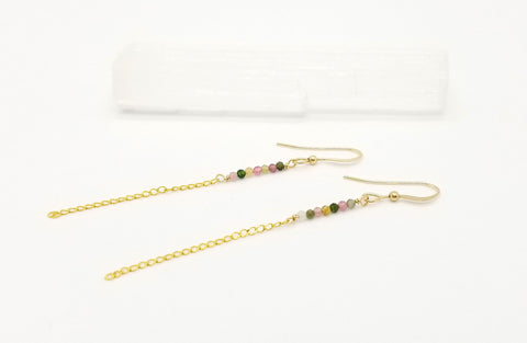 Gold Chain and Tourmaline Earrings