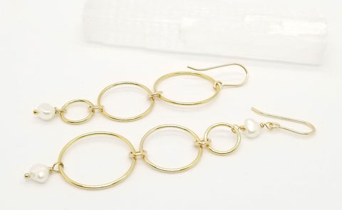 Gold Asymmetrical Freshwater Pearl Circle Dangle Earrings