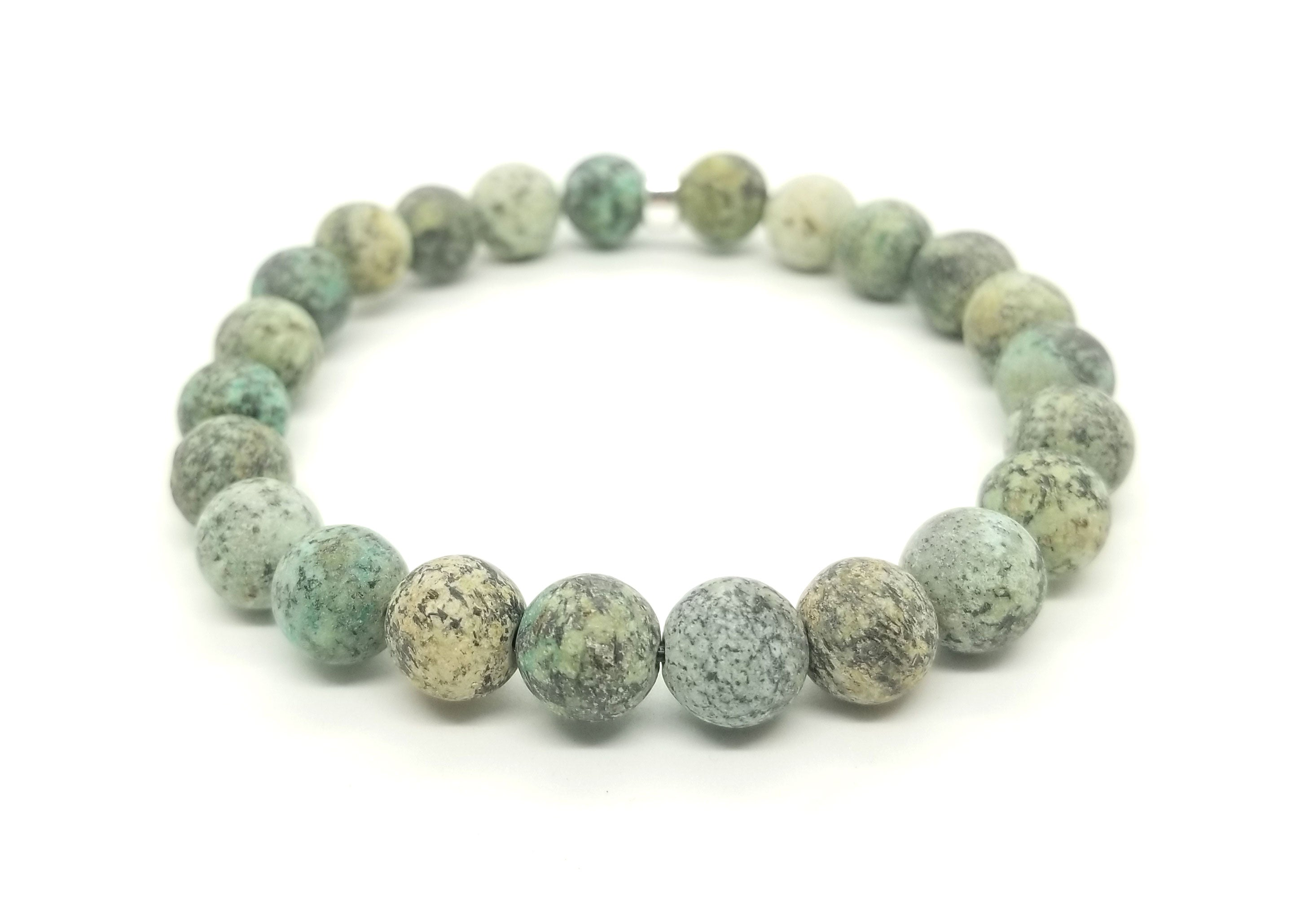 8mm African Turquoise Silver Bracelet