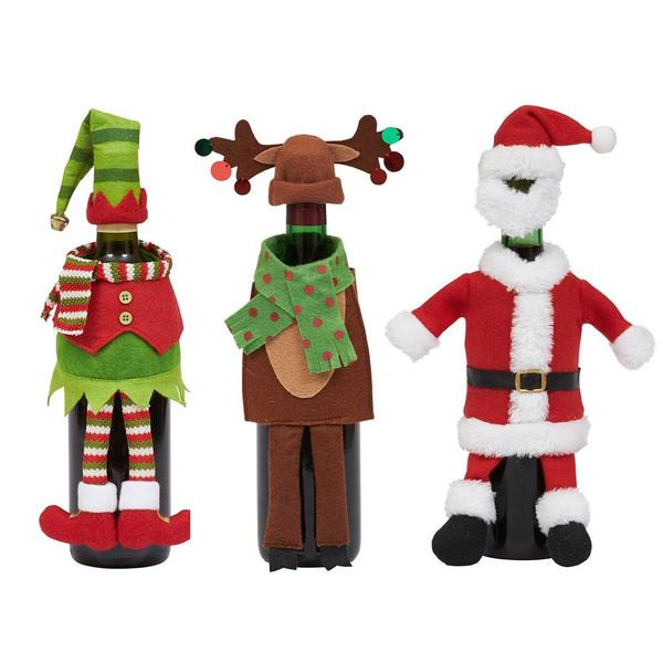 Santa, Reindeer and Elf Wine Bottle Outfits