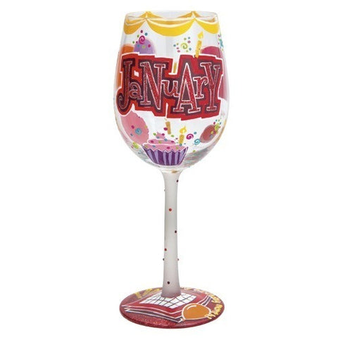 Lolita Months of the Year Wine Glasses January