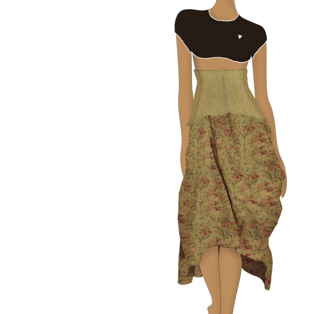 THE HIGH WAIST SKIRT - solid and flowers - REGINA NEMNI