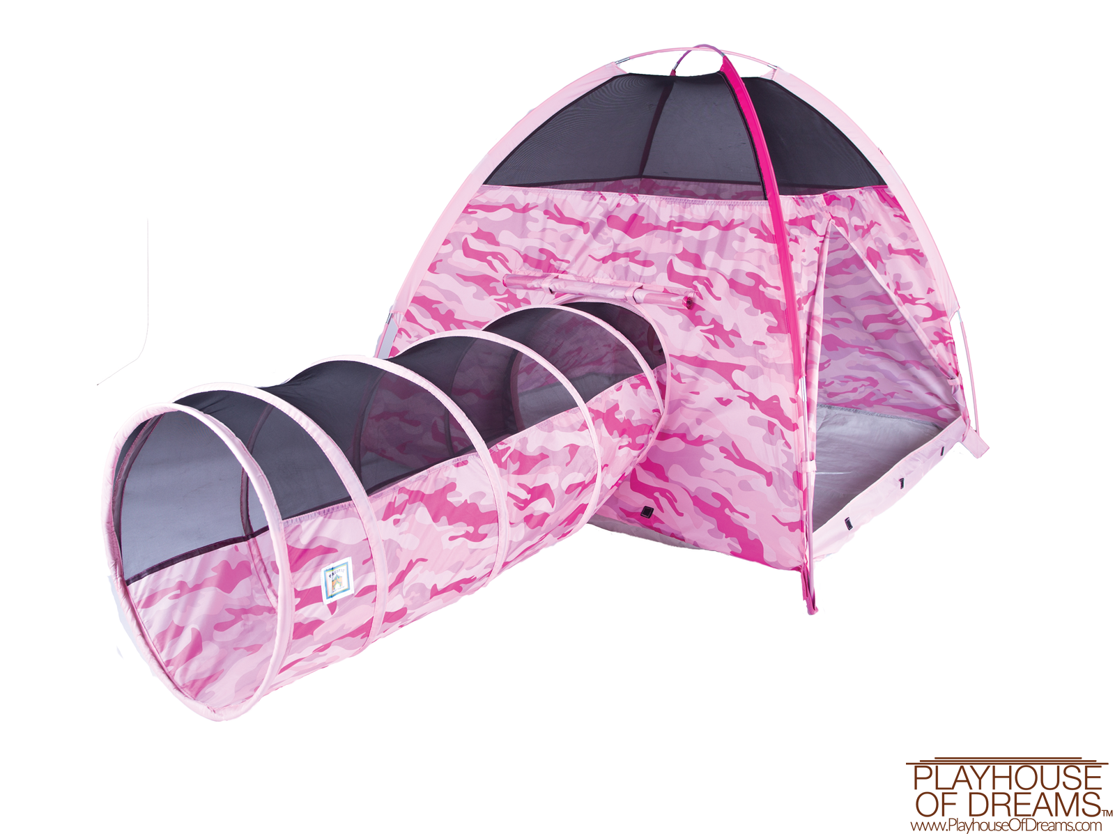 Pink Camo Tent & Tunnel Combo - Pacific Play Tent - Playhouse of Dreams  - 1
