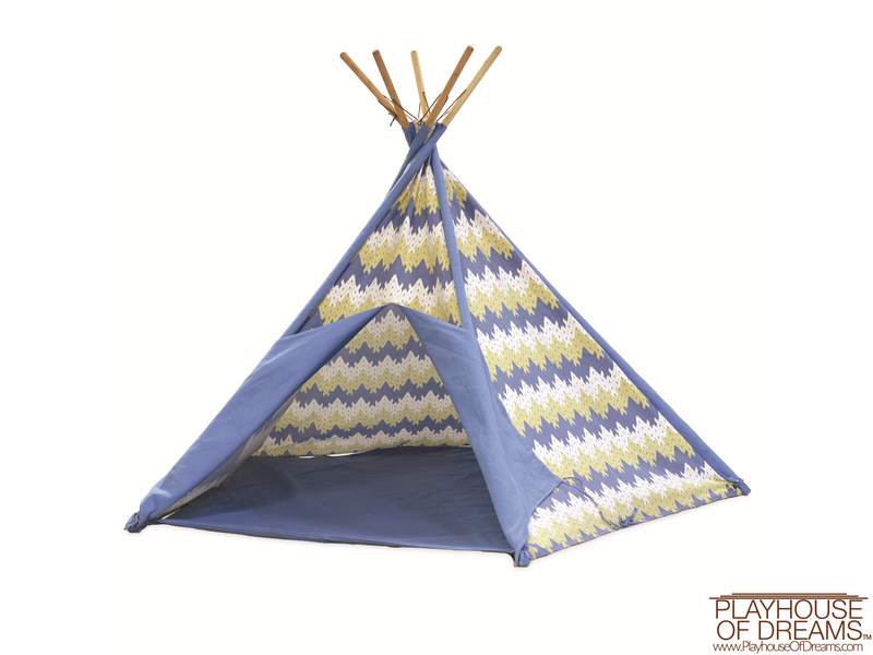 Striation Blue Tee Pee - Pacific Play Tent - Playhouse of Dreams  - 1
