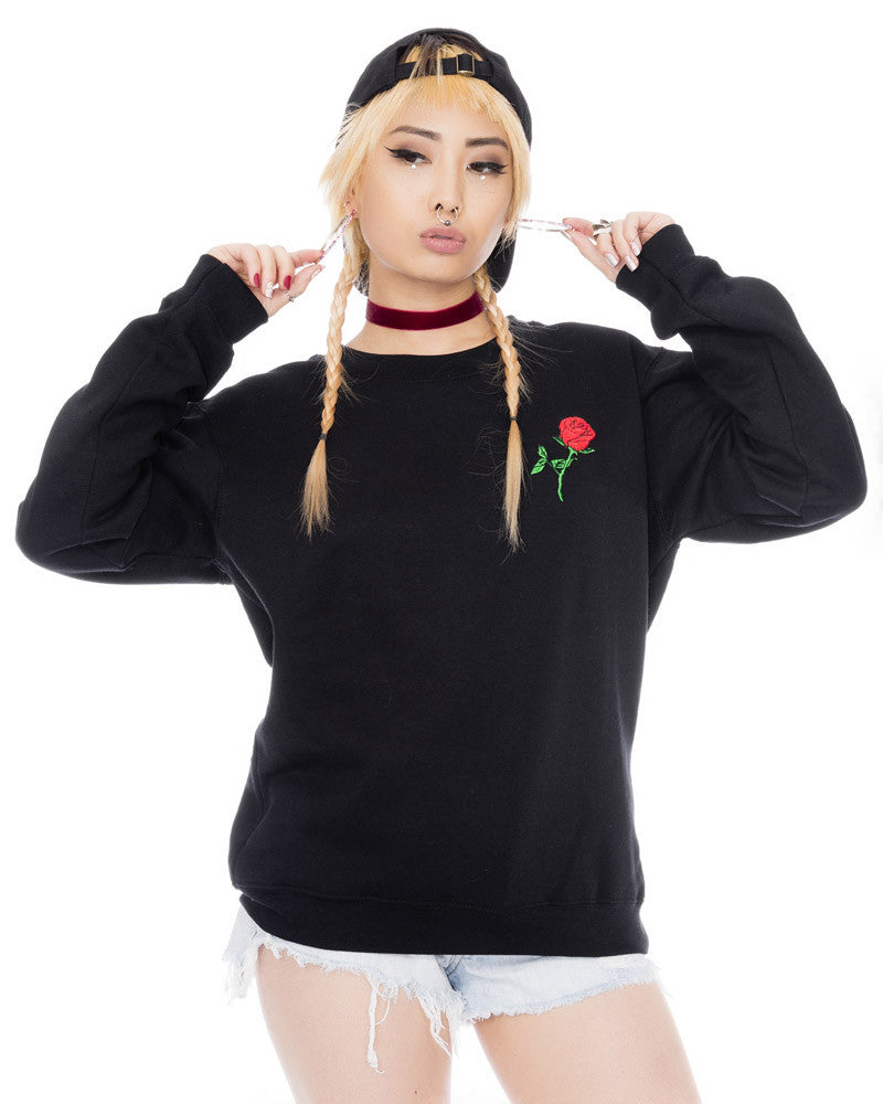 BLACK ROSE UNISEX SWEATSHIRT