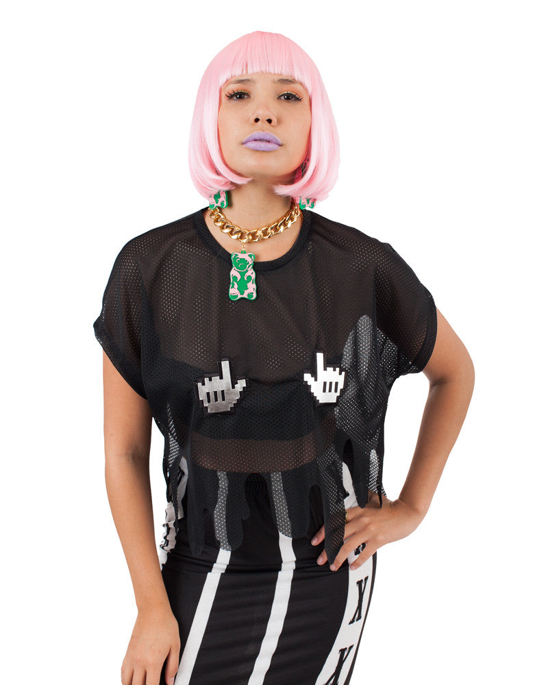 BLACK DRIPPY CLICK CROP TOP