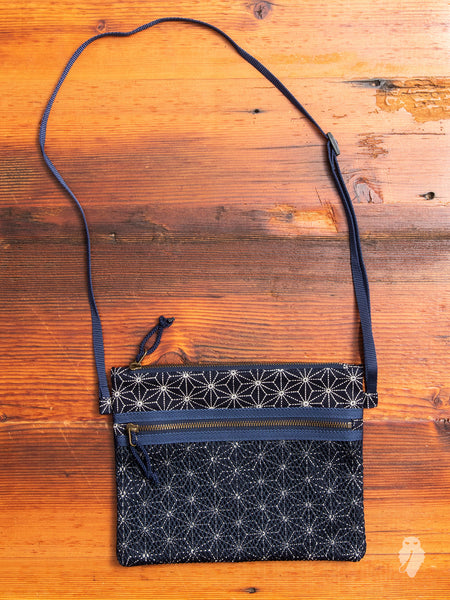 """Asanoha"" Sashiko Shoulder Bag in Navy"