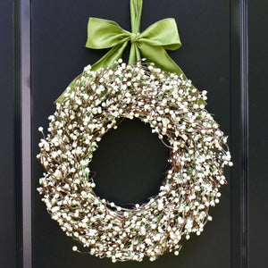 Cream Berry Wreath with Green Leaves and White Flowers