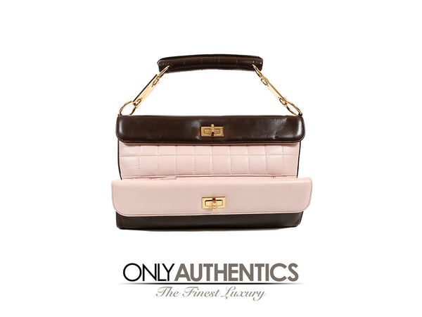2019 best classcic buying now Pink and Brown Leather Clutch with Handle