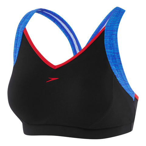 Womens Cross Trainer Racer Top - Black/Marl Lines/USA Red
