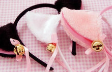 Load image into Gallery viewer, Black/White/Pink Kitty Cat Ears Maid Hair Hoop SP141189