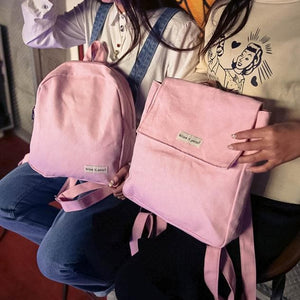 Pink/Black/Green Canvas School Backpack SP166791