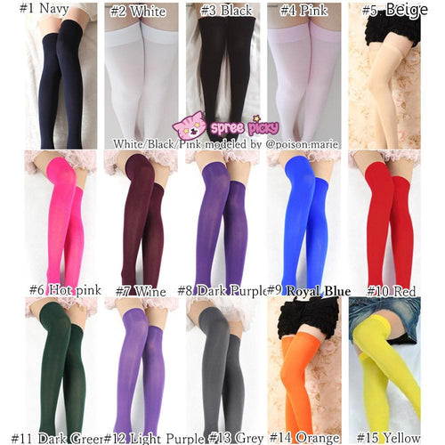 15 Colors Cosplay Basic Pure Color Thigh High Stocking SP130234 - SpreePicky  - 1