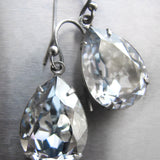 Ice Blue Swarovski Crystal Teardrop Earrings with Antiqued Silver