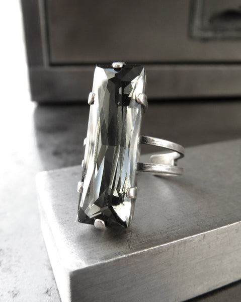 Modern Architectural Swarovski Crystal Ring - Black Diamond Baguette