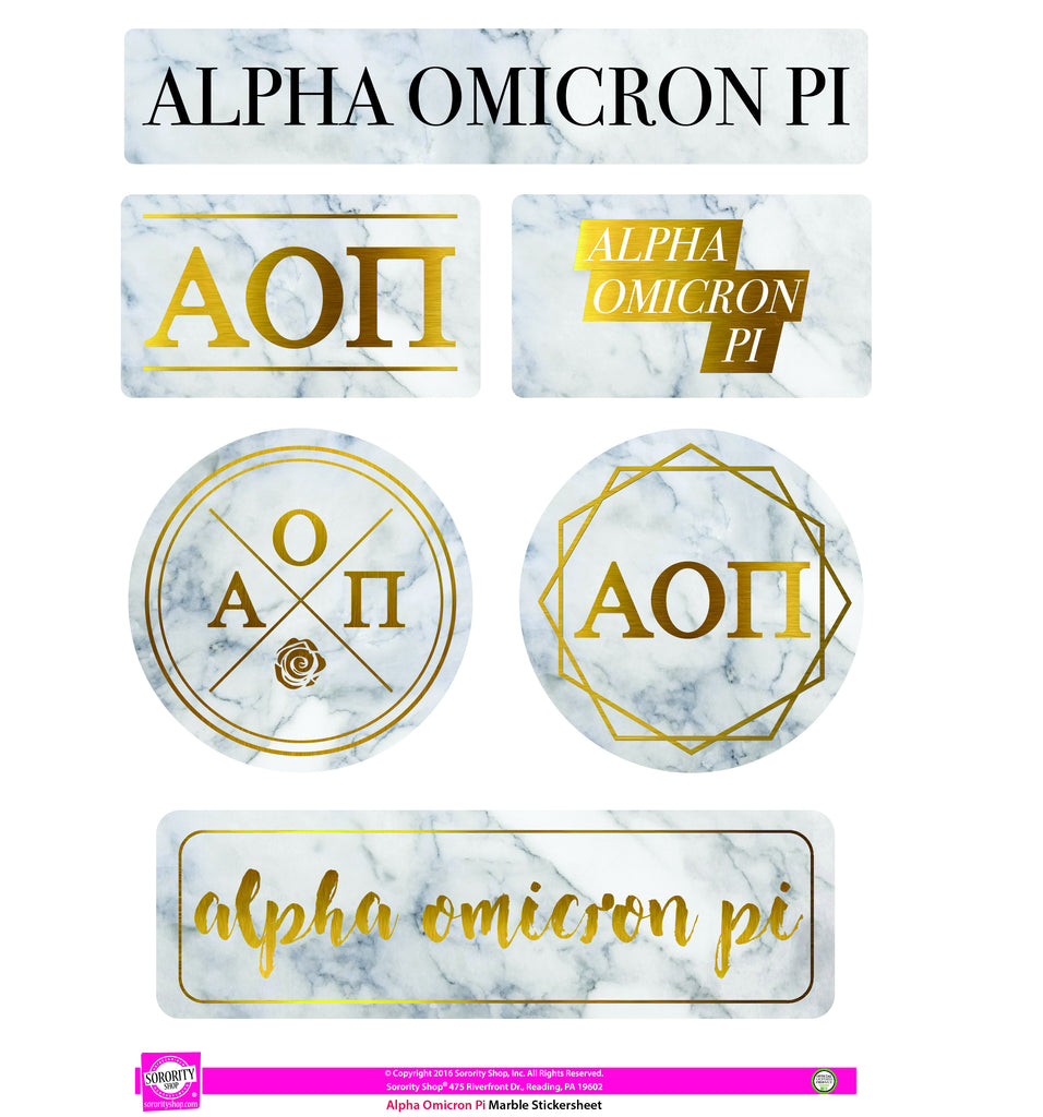 Alpha Omicron Pi <br> Marble Sticker Sheet