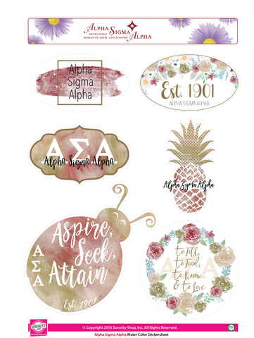 Alpha Sigma Alpha <br> Water Color stickers