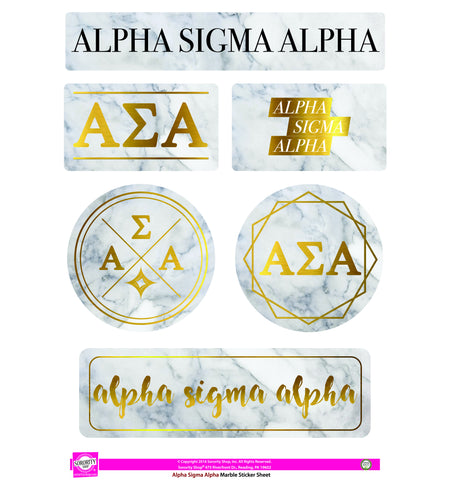Alpha Sigma Alpha <br> Marble Sticker Sheet