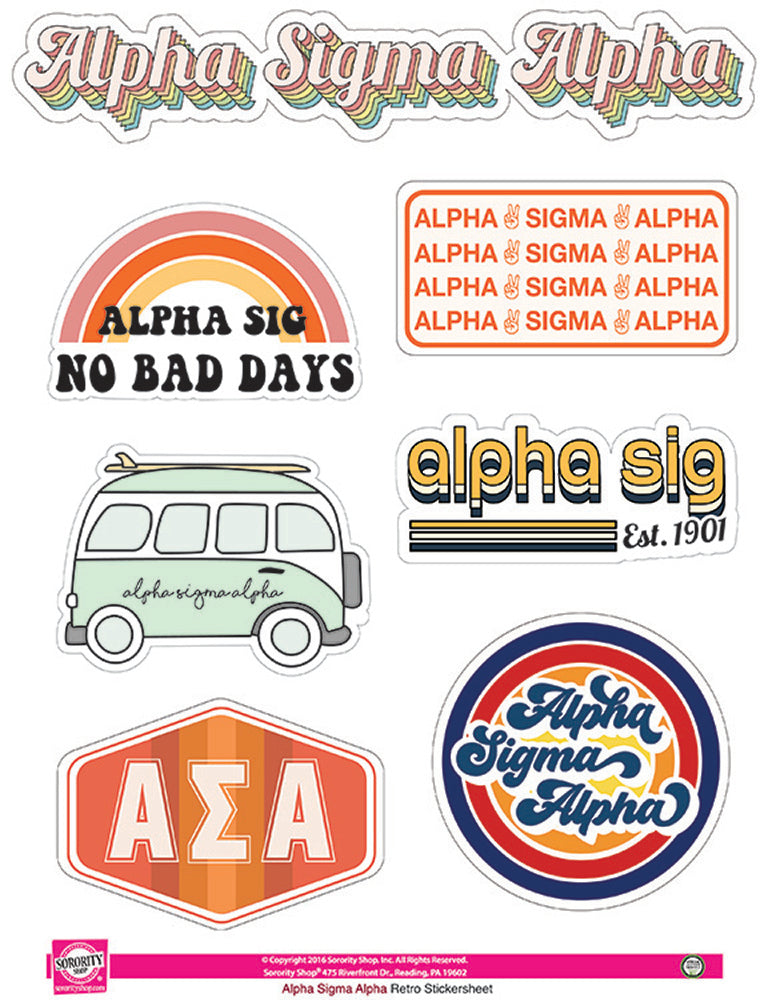 Alpha Sigma Alpha Retro Sticker Sheet