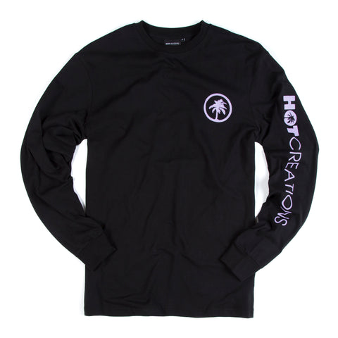 Hot Creations<br>Black long sleeve tee with lilac palm logo