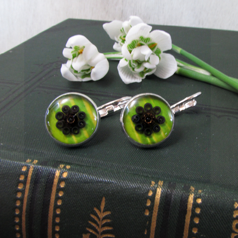 Bamboo - silver plated earrings