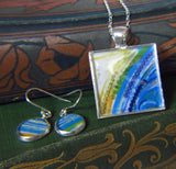 Halcyon - silver plated necklace and earrings set