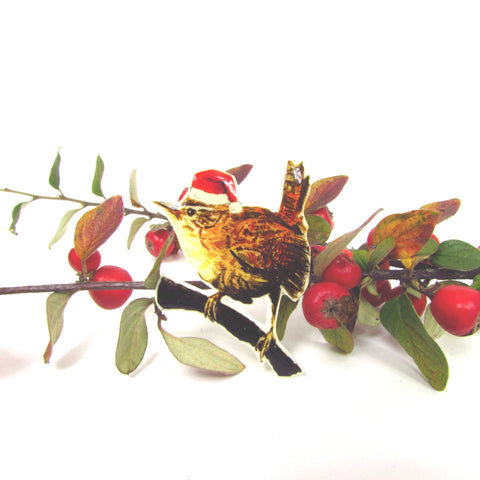 Christmas Wren pin badge