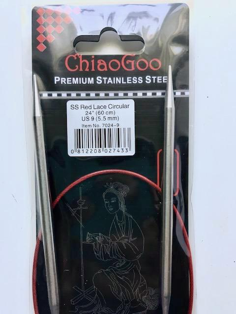 Chiaogoo Red Lace US 9 (5.5 mm) circular needles (24