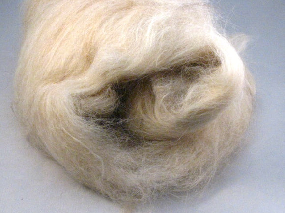 Cream Llama & Shetland Wool Drum Carded Spinning Fiber (1.6 oz)