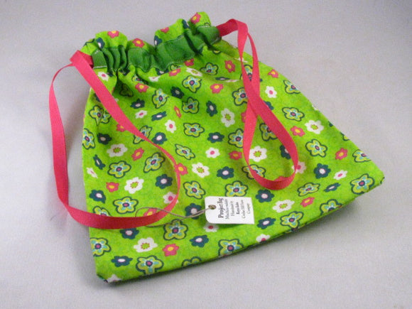 Lime & Pink Floral Hand Sewn Self-locking Project Bag (8
