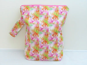 "Watercolors (Pink/Green/Orange) -- Hand Sewn Sweater Project Bag with Handle  -- 13"" x 15"""