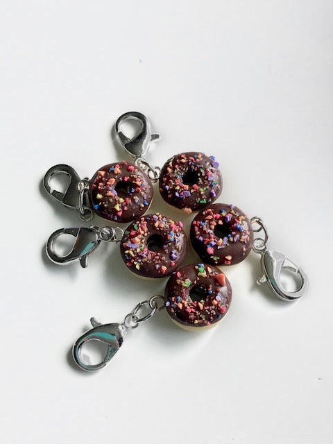 Chocolate Donut with Sprinkles -- Project Keeper & Zipper Pull