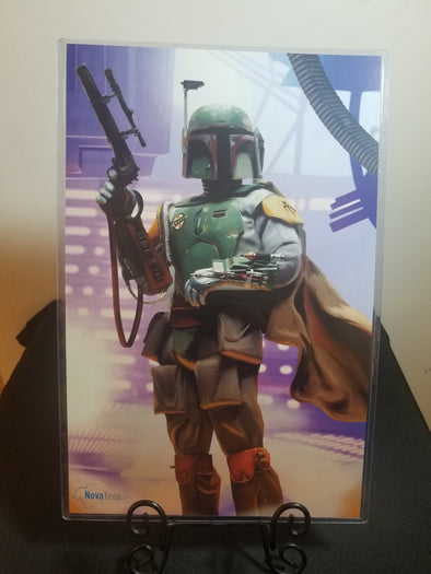 Poster in the likeness of Boba Fett posing with his gun held above his shoulder in his right hand