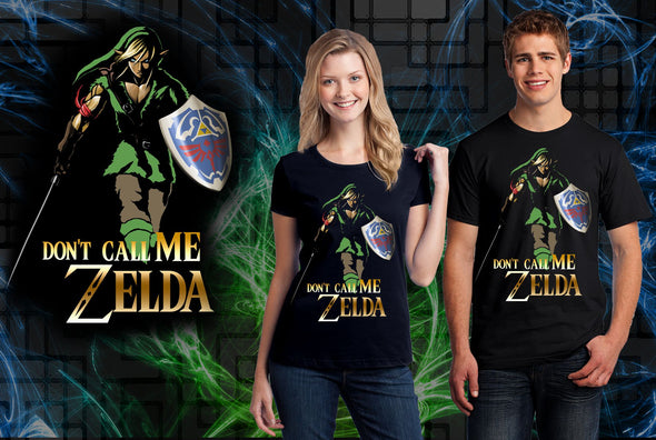 A woman and man wearing a black t-shirt with art inspired by Link from Zelda