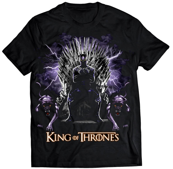 A black t-shirt with an image in the likeness of Black Panther from Marvel sitting on a throne